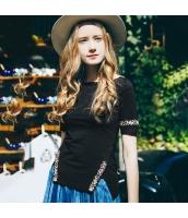 ガーベラレディース Tシャツ カットソー 半袖 ハイロー裾 スリット入り 刺繍入り 夏物 rp12075-1