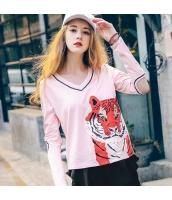 ガーベラレディース Tシャツ カットソー 長袖 ワッペン刺繍 ゆったり 虎柄 春物 rp12100-1