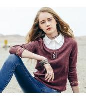 ガーベラレディース Tシャツ カットソー 長袖 重ね着風 刺繍入り 春物 rp12103-1