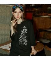 ガーベラレディース スウェット トレーナー 七分袖 刺繍入り ゆったり 春物 rp12112-2