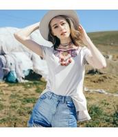 ガーベラレディース Tシャツ カットソー 半袖 ゆったり 刺繍入り 夏物 rp12116-1