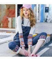ガーベラレディース ジーンズ デニムパンツ サロペット フリンジ裾 刺繍入り 春物 rp12205-1