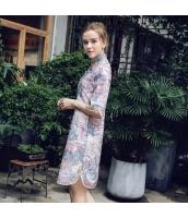ガーベラレディース ミニワンピース 半袖 Aラインワンピース チャイナードレス風 春物 rp12228-1