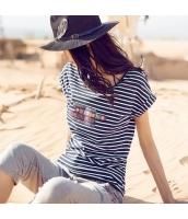 ガーベラレディース Tシャツ カットソー 半袖 ボーダー柄 刺繍入り 夏物 rp12261-1