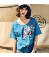 ガーベラレディース Tシャツ カットソー 半袖 ゆったり 刺繍入り 夏物 rp12272-1
