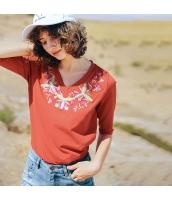 ガーベラレディース Tシャツ カットソー 七分袖 Vネック ゆったり 刺繍入り 夏物 rp12273-1