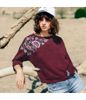 ガーベラレディース ニット・セーター セーター 長袖 ゆったり 刺繍入り 夏物 rp12282-1