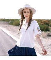 ガーベラレディース Tシャツ カットソー 半袖 クロスVネック 刺繍入り 夏物 rp12283-1