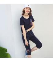 ガーベラレディース アンサンブル Tシャツ カットソー 半袖 カプリパンツ 上下2点セット 刺繍入り 夏物 rp12298-1