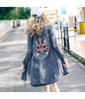 ガーベラレディース デニムジャケット ステンカラー ロング丈 刺繍入り 夏物 rp12314-1