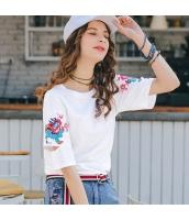 【Tシャツ】カットソー【半袖】カットアウト袖【刺繍入り】夏物 rp12339-1