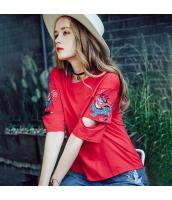 【Tシャツ】カットソー【半袖】カットアウト袖【刺繍入り】夏物 rp12339-3