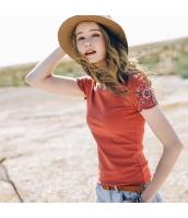 【Tシャツ】カットソー【半袖】着やせ【刺繍入り】夏物 rp12345-1