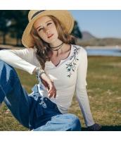 【Tシャツ】カットソー【長袖】Vネック【刺繍入り】夏物 rp12368-1