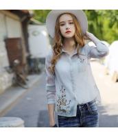 【シャツ】長袖【薄手】シースルー【刺繍入り】夏物 rp12392-1