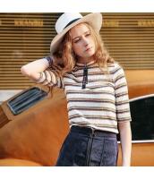 【ニットウェア】セーター【五分袖】ボーダー柄【ジップアップ立て襟】刺繍入り【夏物】 rp12405-1