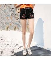 【ジーンズ・デニムパンツ】ショートパンツ・ホットパンツ【フリンジ裾】刺繍入り【夏物】 rp12424-1