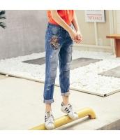 【ジーンズ・デニムパンツ】ロールアップ【ダメージジーンズ】刺繍入り【夏物】 rp12493-1