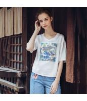 【ブラウス】五分袖【シフォン】ゆったり【ワッペン刺繍】春物 rp12560-1