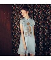 【膝上ワンピース】半袖ス【フレアワンピース】チャイナードレス風【刺繍入り】夏物 rp12571-1