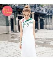 【チャイナドレス】ロングドレス【袖なし】フロントクロス【刺繍入り】夏物 rp12728-1