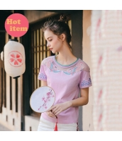 【Tシャツ】カットソー【半袖】刺繍入り【夏物】 rp12738-1