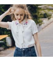 【シャツ】半袖【シフォン】刺繍入り【夏物】 rp12769-1