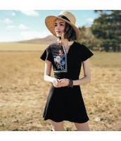 【ミニワンピース】半袖【フレアワンピース】非対称Vネック【刺繍入り】夏物 rp12770-1