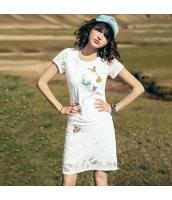 【アンサンブル】Tシャツ【カットソー】半袖【タイトスカート】ミニスカート【上下2点セット】レース【刺繍入り】夏物【夏物】 rp12785-1