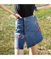 【デニムスカート】タイトスカート【ミニスカート】刺繍入り【夏物】 rp12812-1