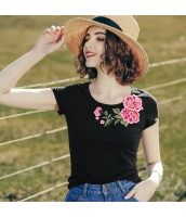 【Tシャツ】カットソー【半袖】花柄【刺繍入り】夏物 rp12814-1