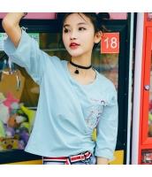 【Tシャツ】カットソー【五分袖】ゆったり【刺繍入り】夏物 rp12819-1