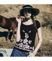 【Tシャツ】カットソー【半袖】花柄【刺繍入り】夏物 rp12823-1