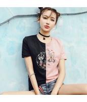 【Tシャツ】カットソー【半袖】パチワーク【刺繍入り】夏物 rp12825-1