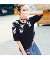 【Tシャツ】カットソー【五分袖】刺繍入り【夏物】 rp12836-1
