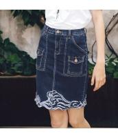 【デニムスカート】タイトスカート【ミニスカート】刺繍入り【夏物】 rp12837-1