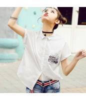 【シャツ】半袖【ゆったり】刺繍入り【夏物】 rp12838-1