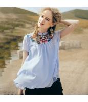 【ブラウス】半袖【ゆったり】シフォン【刺繍入り】夏物 rp12854-1
