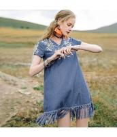【ミニワンピース】半袖【Aラインワンピース】デニムワンピ【刺繍入り】夏物 rp12871-1