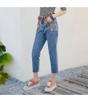 【ジーンズ・デニムパンツ】フリンジ裾【刺繍入り】夏物 rp12876-1
