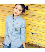 【シャツ】七分袖【刺繍入り】夏物 rp12885-1
