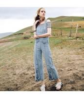 【ジーンズ】デニムパンツ【サロペット】純綿100%コットン【刺繍入り】夏物 rp12897-1