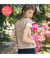 【Tシャツ】カットソー【半袖】猫柄【桃色】ピンク【ワッペン刺繍】夏物 rp12914-1