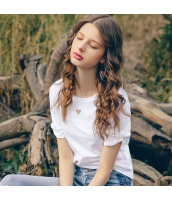 【Tシャツ】カットソー【半袖】白【ホワイト】刺繍入り【夏物】 rp12919-1