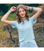 【Tシャツ】カットソー【半袖】水色【ブルー】刺繍入り【夏物】 rp12919-2