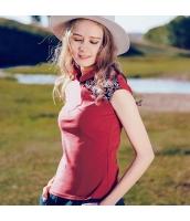 【Tシャツ】カットソー【半袖】立て襟【赤】レッド【刺繍入り】夏物 rp12923-1