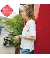 【Tシャツ】カットソー【五分袖】ハイロー裾【白】ホワイト【刺繍入り】夏物 rp12924-1