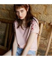【Tシャツ】カットソー【半袖】ゆったり【桃色】ピンク【刺繍入り】夏物 rp12926-1