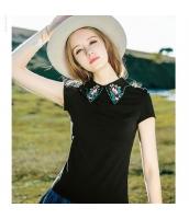 【Tシャツ】カットソー【半袖】襟付き【黒】ブラック【刺繍入り】夏物 rp12928-1