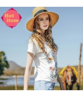 【Tシャツ】カットソー【半袖】白【ホワイト】刺繍入り【夏物】 rp12933-1